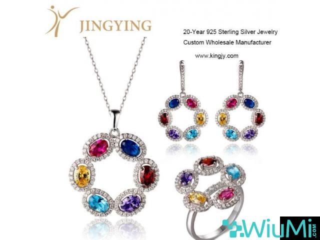Sterling silver pendant necklace earrings ring jewelry set design custom wholesale - 1/3