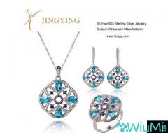 Sterling silver pendant necklace earrings ring jewelry set design custom wholesale - Image 3/3