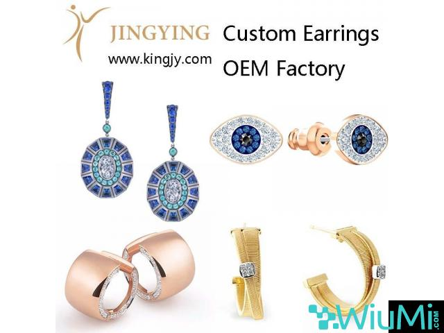 Custom earrings gold plated silver jewelry supplier and wholesaler - 1/2