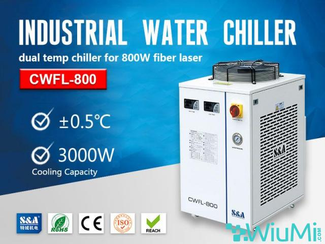 S&A small water chiller CWFL-800 for cooling 800W fiber laser engraver - 1/2